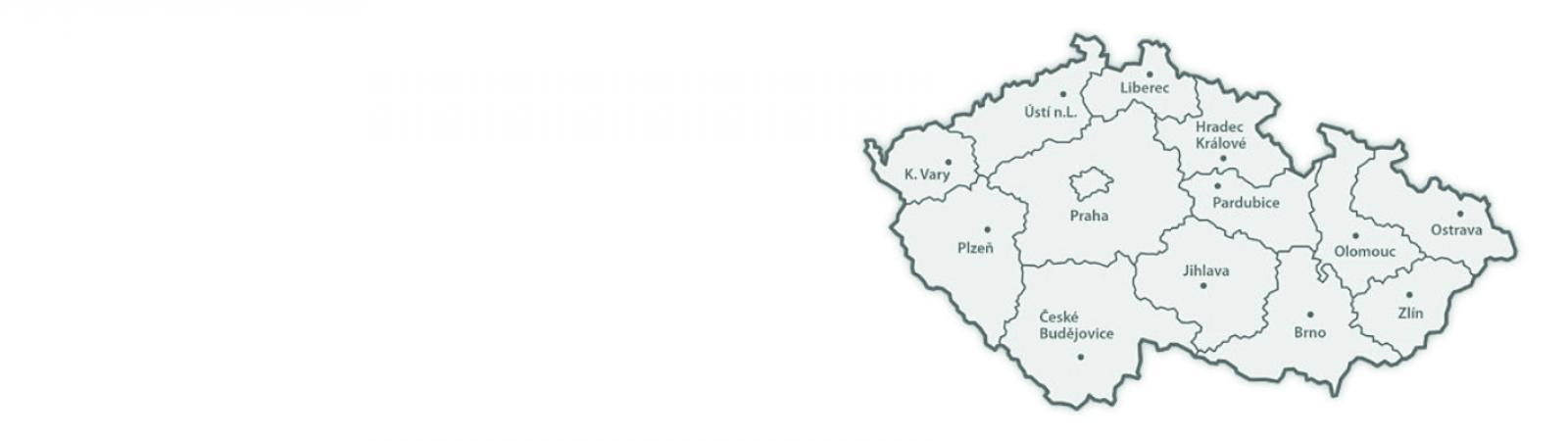 Mapa Center duševního zdraví a multidisciplinárních týmů Nových služeb